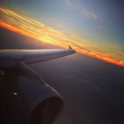 Airplane Sunset Sky Travel No People Airplane Wing Landscape Sun Picoftheday