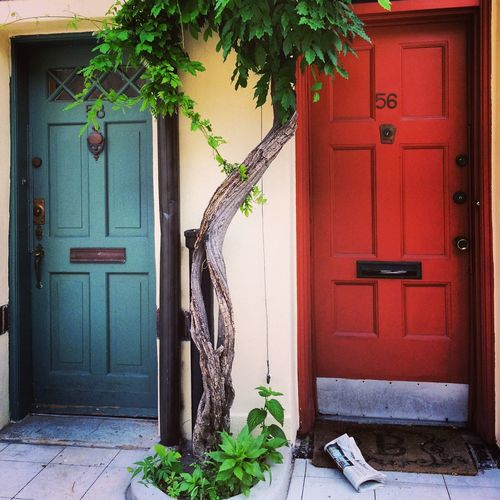 West Village in NYC Architecture Building Exterior Door Entrance Newspaper No People Trees Wall - Building Feature