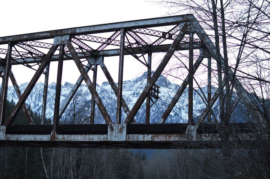 Mountains Snowcapped Mountain Beauty In Nature Washington State PNW Bridge Bridge - Man Made Structure Metal Architecture Built Structure Railway Bridge