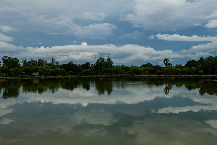 Sky in the river Water Reflection Lake Tree Landscape Reflecting Pool Cloud - Sky Nature Beauty Mountain Outdoors Flood Sky No People Beauty In Nature Day Culture Heritage Architecture Sky Nature Ancient Travel Sukhothai Historic Building Photography