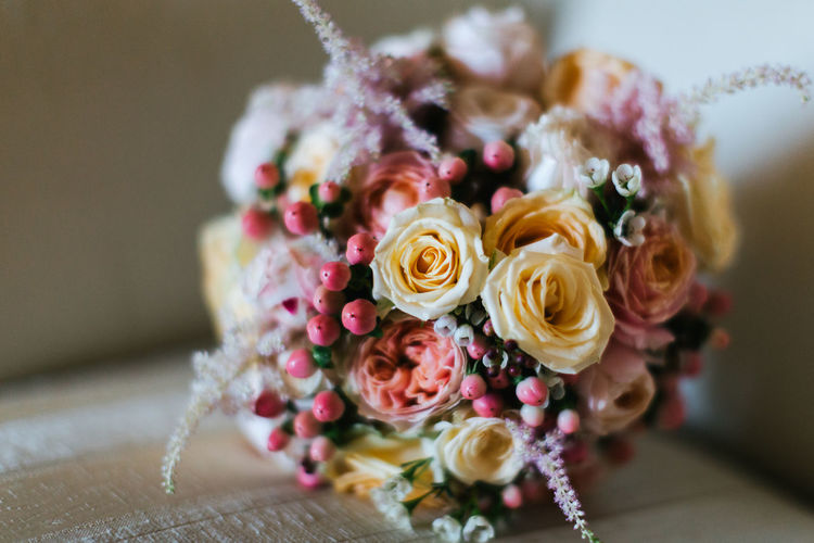 Beauty In Nature Bouquet Bunch Of Flowers Close-up Flower Flower Arrangement Flower Head Freshness Indoors  Nature No People Petal Rose - Flower Wedding Wedding Bouquet Wedding Details Wedding Flowers