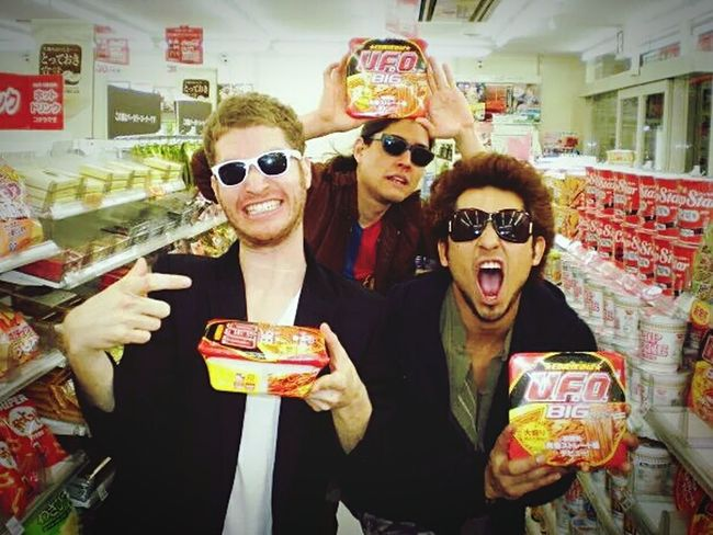 THESE Are My Friends Friendship Hanging Out Osaka 大阪 Instant Noodles Goofing Off 7-11 Sankakukouen Enjoying Life Memories Nostalgia With The Boys Sunglasses At Night Combini Unedited Photo Perfect Timing
