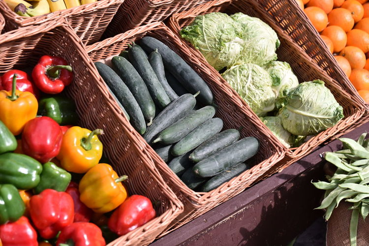 High angle view of vegetables in basket at market stall
