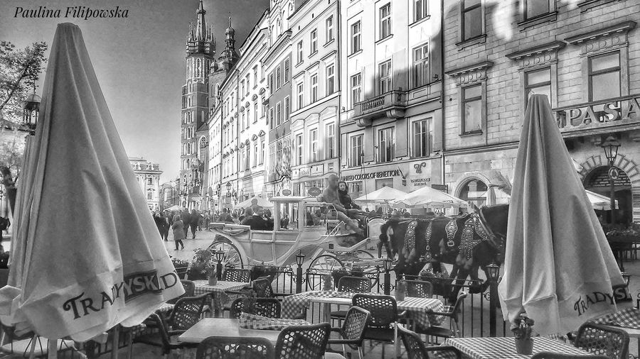 Day Architecture Outdoors City People And Places People Walking  Horses Details City Streets  City History City Photography Black And White Collection  Tables & Chairs Restaurants Backside Architecture Details Architecture_collection Architecture Restaurant Art Poland The Street Photographer - 2017 EyeEm Awards Black And White Friday