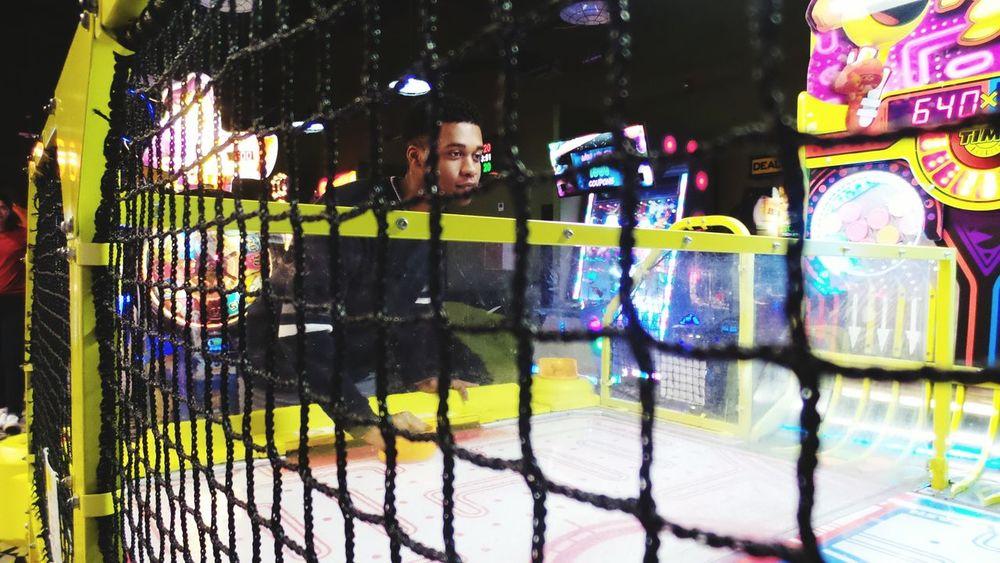 Arcade Net Air Hockey Justin Yellow Black Aesthetics Fun Lights