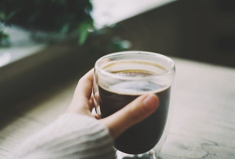 One coffee a day... FujicolorC200 Film Photography Fujifilm Human Hand Hand One Person Refreshment Drink Food And Drink Real People Holding Glass Lifestyles Drinking Glass Freshness Close-up Body Part Focus On Foreground Indoors  Human Body Part Leisure Activity