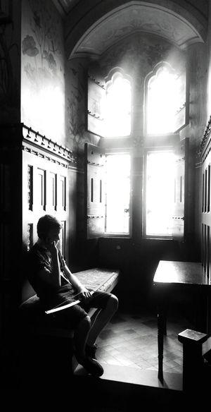 Blackandwhite Black & White Blackandwhite Photography Black&white Window Castles Beautiful Boy SpotlightsSitting Spotlight_shots Capture The Moment Sad & Lonely Sadness First Eyeem Photo Photography Spotlighting Cast Shadows Spotlighting Shadows & Lights Shadows And Silhouettes Shadow Play