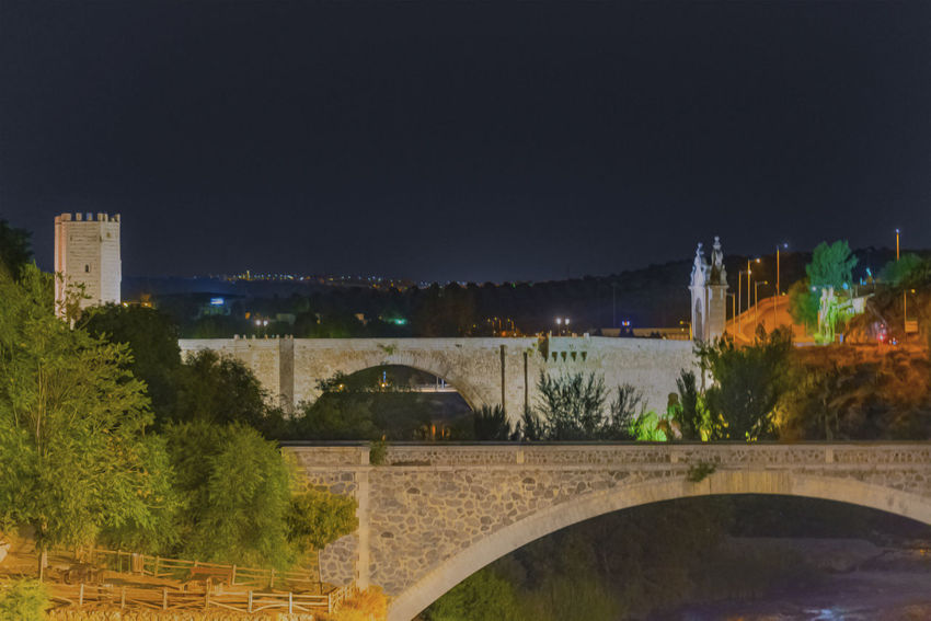 Andalucía SPAIN Toledo Spain Arch Arch Bridge Architecture Bridge Bridge - Man Made Structure Building Building Exterior Built Structure City Connection Copy Space History Nature Night No People Outdoors Plant Sky Tree Water