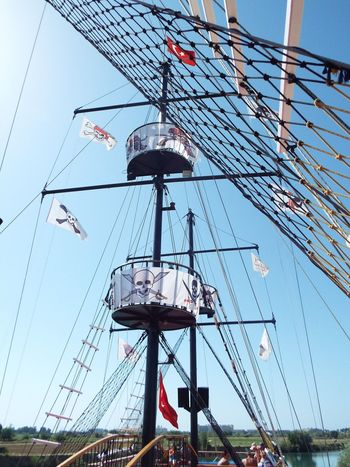 Manavgat River Day Trip Pirate Ship Turkish Flag Jolly Roger Boat Blue Sky Blue Mast Flags Rope Ladder On The Way