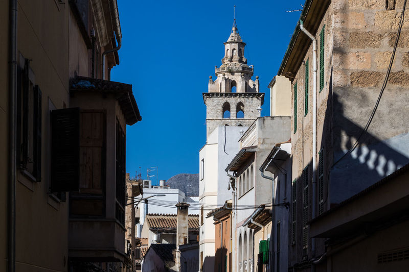 Inca, Mallorca Inca Mallorca Majorca Balearic Islands Islas Baleares SPAIN España Building Exterior Architecture Built Structure Building Low Angle View Sky Residential District Sunlight Day No People Religion Belief Place Of Worship The Past History Town Outdoors Church