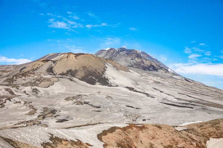 Etna Volcano Crater Mountain Winter Snow Sicily Italy Ash Sky Scenics - Nature Beauty In Nature Cloud - Sky Tranquil Scene Landscape Environment Blue Tranquility Nature Non-urban Scene Mountain Range Day Rock No People Idyllic Remote Cold Temperature Mountain Peak Snowcapped Mountain Formation