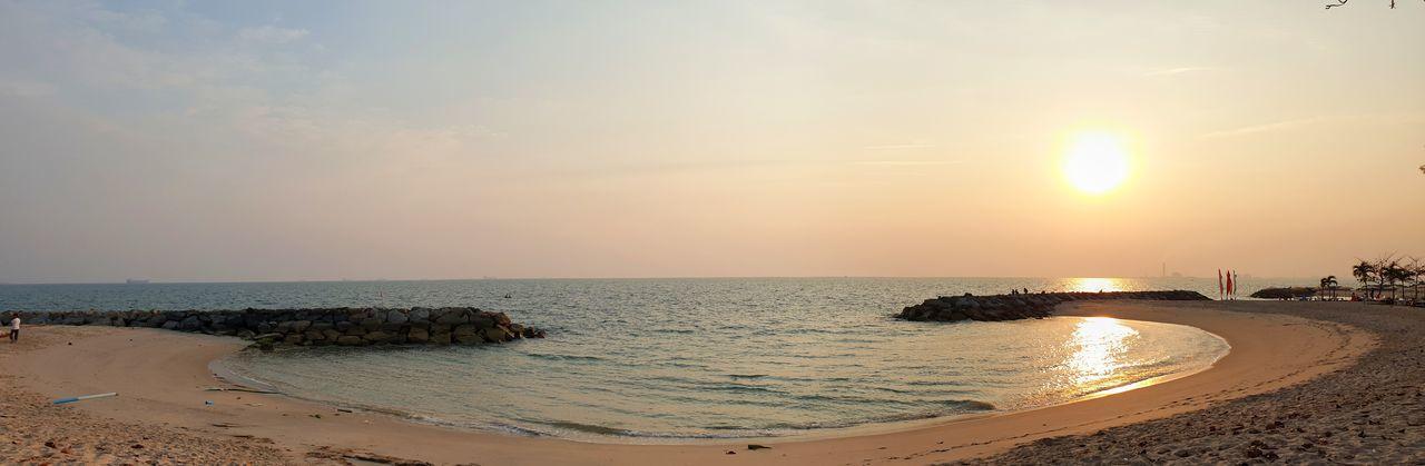 beautiful sunset at rayong beach Sunset Sunrise Orange Sky Twilight Panoramic Photography Water Wave Sea Sunset Beach Beauty Sand Relaxation Backgrounds Sand Dune Tide Seascape Coastline Ocean Horizon Over Water Coast Dramatic Sky Romantic Sky