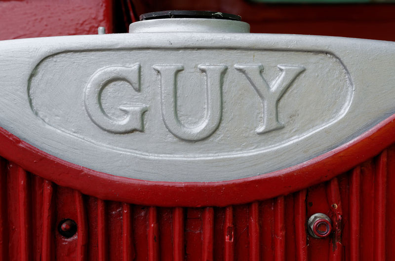 British Bus Bus Close-up Guy Motors Nameplate Red Transportation
