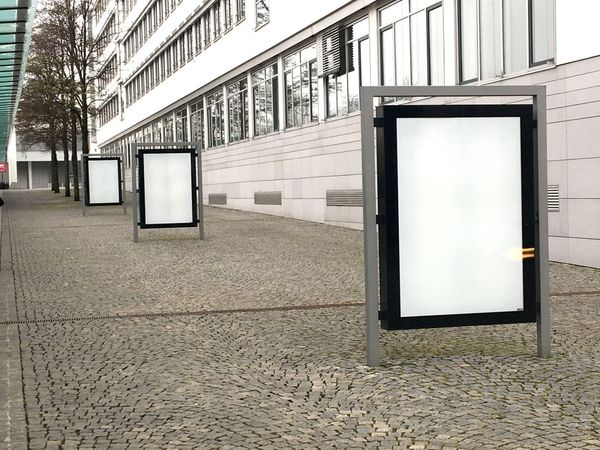 Citylightposter ohne Inhalt, Poster, Mockup, ohne Inhalt, leer, Plakat Poster Mockup Built Structure Architecture Building Exterior Day No People Wall - Building Feature Building Advertisement Window Outdoors White Color Blank Communication Sign Billboard Marketing