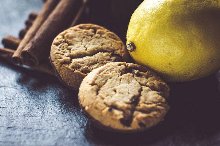 Close-up of cookies and lemon