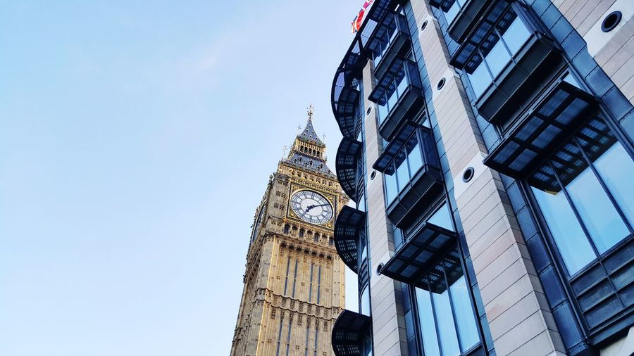 EyeEm Selects Architecture Built Structure Building Exterior Low Angle View Day Modern Clock Outdoors No People Clock Tower Sky Clock Face Windsor LONDON❤ London England Uk Travel Destinations EyeEmNewHere Architectural Column Architecture Cloud - Sky Arch Cityscape