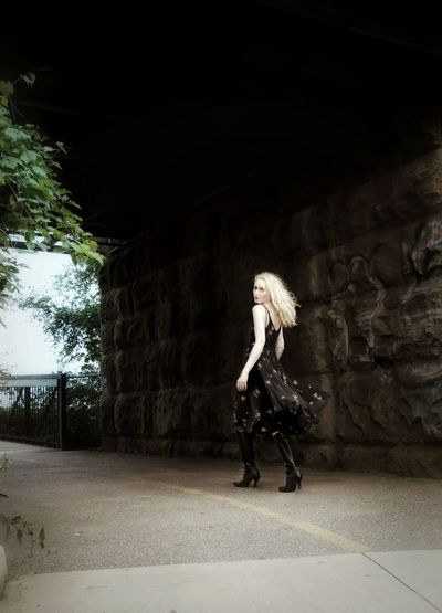 Walk the Line The Week on EyeEm @eye4invisible With Friends @HannaKoper1 Blonde Hair Boots❤ Fashion Photography Tunnel Light And Shadow Trees Summer Movement Ontario, Canada Pathway City Full Length Standing Light At The End Of The Tunnel Underpass Urban Fashion Jungle #urbanana: The Urban Playground Sundress Archway Underground Walkway Arched