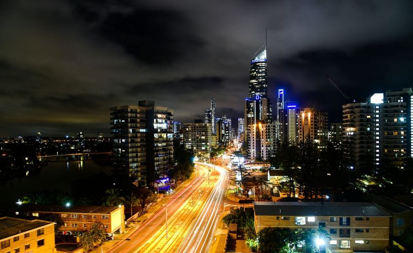 High Angle View Of Light Trails On Road Against Buildings