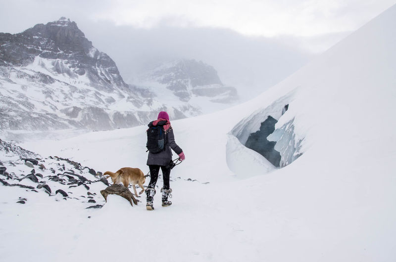 Woman With Dog Walking On Snow Covered Mountains