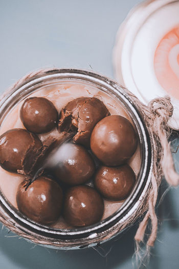 Directly above shot of chocolate in container on table