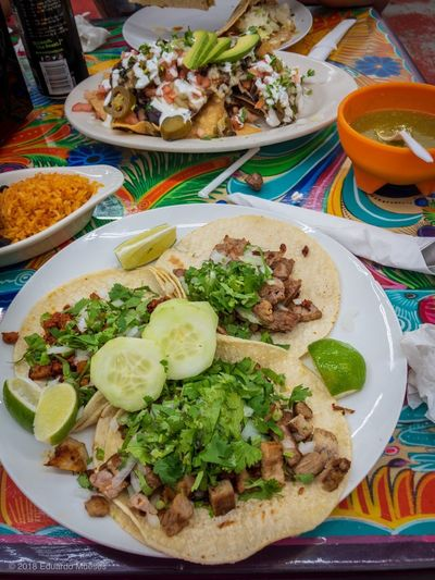 Mexican Feast Mexico Ethnic Traditional Typical Nachos Tacos Mexican Food Mexican Food Food And Drink Healthy Eating Vegetable Plate Ready-to-eat Freshness No People Table Serving Size Meal High Angle View Still Life Meat Indoors  Multi Colored