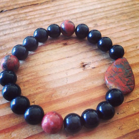 New Wrist Mala for sale! Onyx Jasper Wrist Bracelets
