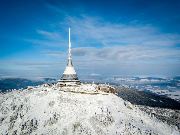 Fairytale  Snow ❄ Architecture Beauty In Nature Built Structure Cloud - Sky Cold Temperature Day Fromwhereidrone History Jested Landscape Liberec Mountain Nature No People Outdoors Scenics Sky Snow Tourism Travel Destinations Winterwonderland