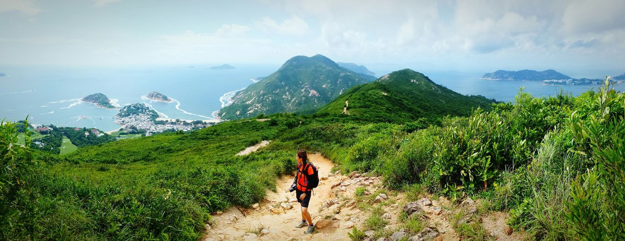 Taking in the view while on the trail of the Dragon's Back hike in Hong Kong Mountaineering Outdoorwomen Wanderlust Yolo Lovetotravel Nature Landscape Hikingadventures
