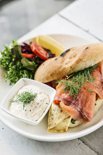 smoked salmon and egg sandwich Meal Sandwich Scandinavia Set Smoked Salmon  Bread Close-up Day Food Food And Drink Freshness Garnish Gourmet Food Healthy Eating Indoors  Natural Food No People Plate Ready-to-eat Salmon Sandwich Scandinavian Snack Table Vegetable