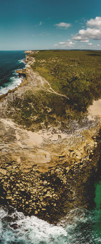 The Royal Coastal Walk from the air at Little Marley Beach, Royal NP. Australia Coastline Drone  Hiking Panorama Travel Aerial View Cloud - Sky Destination Dpi Mavic Air Drone Photography Eroded Explore Hi High Angle View Hiking Adventures Horizon Little Marley Beach Marley Beach Ocean Outdoors Royal Coast Track Royal Coastal Walk Royal National Park Sydney