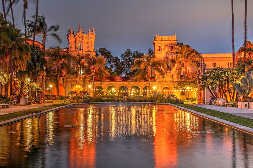 Strolling around Balboa Park after dark. In my opinion, Balboa Park is the crown jewel of San Diego. Balboa Park, San Diego, California, Old Globe Theater, Fountain, Museum, Reflecting Pond, Night, Dark, Evening, Spray, Plaza, Promenade, Colonades, Architecture Illuminated Outdoors Sky Water