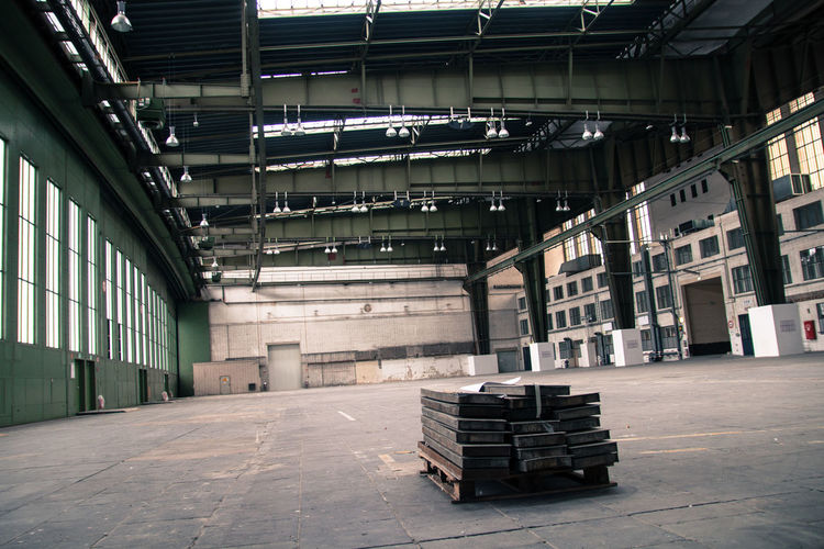 Stack of empty warehouse in building