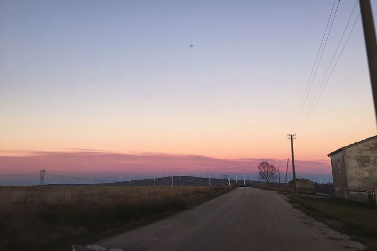 Sunset Road Nature Landscape Clear Sky The Way Forward Transportation Sky No People Outdoors Electricity Pylon Scenics Tranquility Connection Beauty In Nature Day Pink First Eyeem Photo