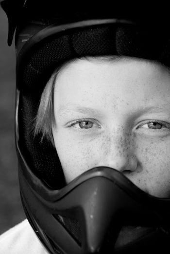 Black And White Black And White Photography Blackandwhite Body Part Close-up Clothing Eyes Focus On Foreground Freckles Front View Hat Headshot Helmet Human Body Part Human Face Leisure Activity Lifestyles Looking At Camera One Person Portrait Real People Security Young Adult Young Women