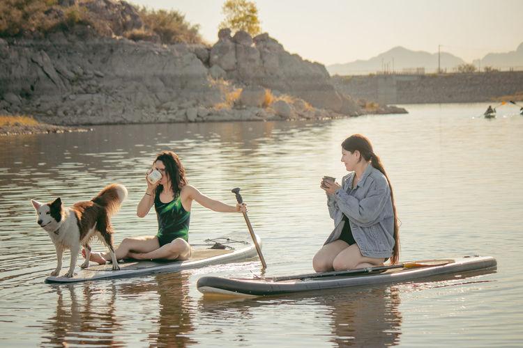People enjoying in lake