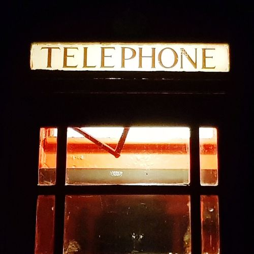 Night Illuminated Telephone Telephone Booth Outdoors Over Processed Sherwood Forest Old Red Phone Box No People Red Communication Text Dark