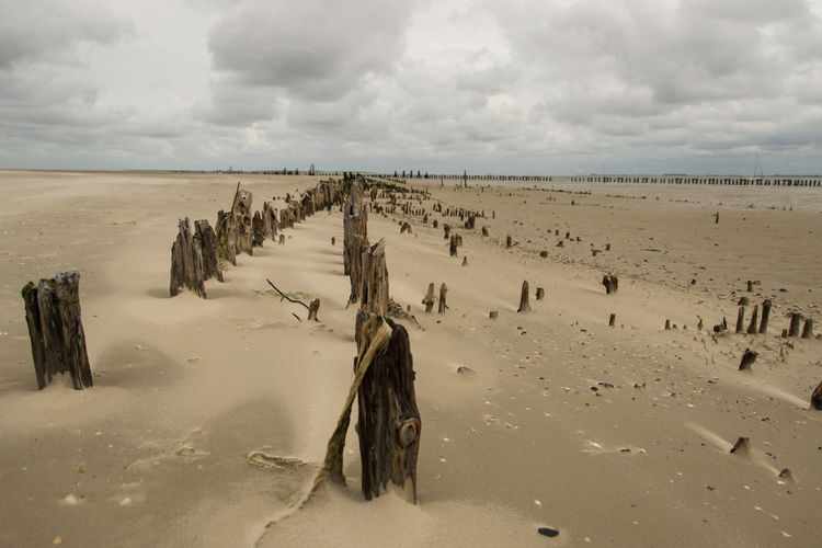 Beach Coastline Cold Cold Temperature Horizon Over Water Incidental People Leisure Activity North Sea Ocean Old Harbour Outdoors Railway Tracks Remote Ruins Sand Sea Shoaled Shore Summer Tourist Vacations Wangerooge Water Wattenmeer Weather