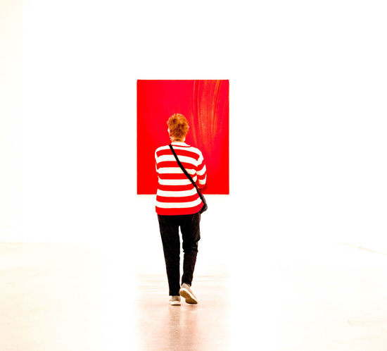 Full Length Standing Casual Clothing Red Indoors  Museum Of Modern Art Pinting Girl in Colour Your Horizn