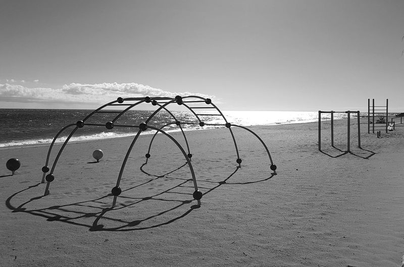 No excuses Beautiful Perspective Minimal Relax Coast Bluesky Sunny Simplicity Minimalism Structure Sports B&w Blackandwhite Sand Sea Ocean Training Beach Sea Sand Horizon Over Water Water Net - Sports Equipment Summer Outdoors Sky Day Beach Volleyball No People Nature