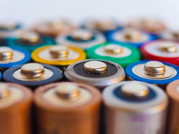 Full frame shot of multi colored batteries