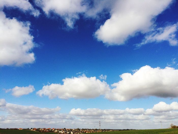 Beautiful day today in Suffolk Blue Sky and fluffy Clouds
