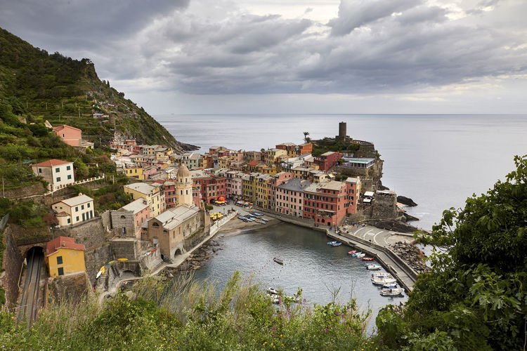 Vernazza 5terre City Architecture Building Building Exterior Built Structure City Cloud - Sky Day High Angle View Horizon Horizon Over Water Nature No People Old Buildings Outdoors Plant Residential District Sea Sky TOWNSCAPE Transportation Tree Vernazza Water