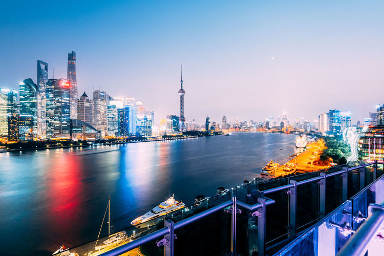 Shanghai's financial district view over the huangpu river.