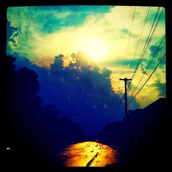 Clouds Rain Road Sunset Tree Illuminated Sky