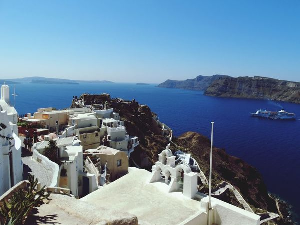 Sea High Angle View Water Architecture Beach No People Clear Sky Blue Travel Destinations Outdoors Building Exterior Built Structure Mountain Day Harbor Nautical Vessel Nature Yacht Sky Horizon Over Water Santorini, Greece Vacations Cyclades Islands Mediteranean Santorini View