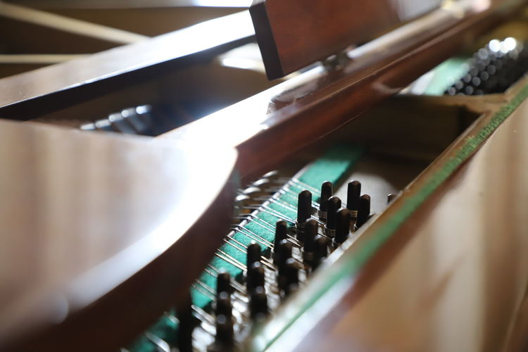 High angle view of piano