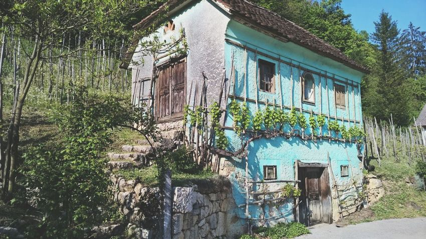 House House In Prairie Traveling Old Slovenia Village Country Blue Details