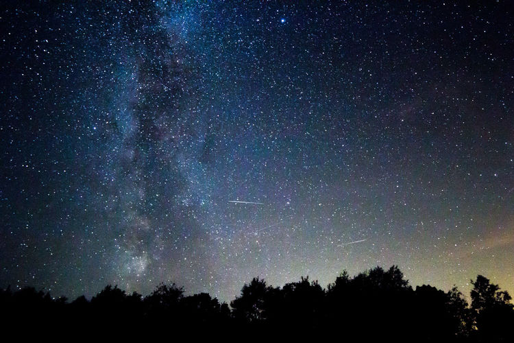 Astronomy Beauty In Nature Galaxy Low Angle View Milky Way Nature Night No People Outdoors Scenics Silhouette Sky Space Star - Space Tranquil Scene Tranquility Tree