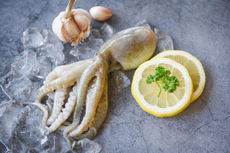 Raw squid on