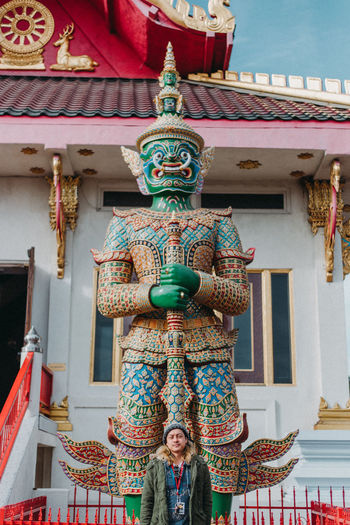 Thailand Architecture Art And Craft Belief Building Building Exterior Built Structure Creativity Day Festival Human Representation Low Angle View Outdoors Place Of Worship Real People Religion Representation Sculpture Spirituality Statue